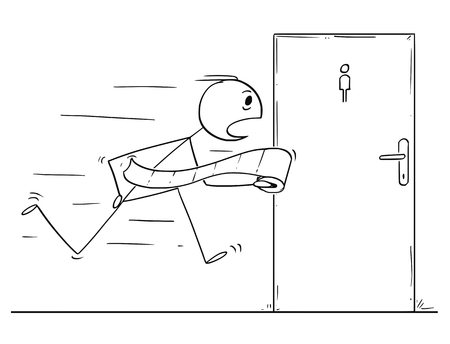 Cartoon stick figure drawing conceptual illustration of man with toilet paper roll running to public bathroom or lavatory or wc or restroom. Illustration
