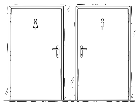 Cartoon drawing of two public toilet or restroom door with lady and gentleman or man and woman symbols. Vector Illustration