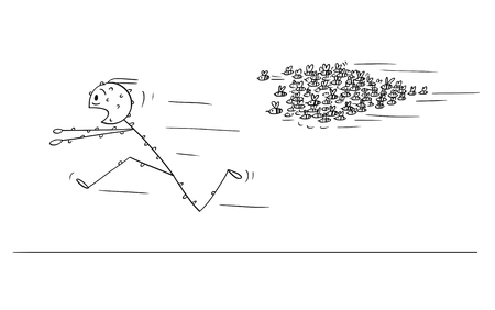 Cartoon stick figure drawing conceptual illustration of man running in panic away from attacking swarm of bees or wasps. Vetores