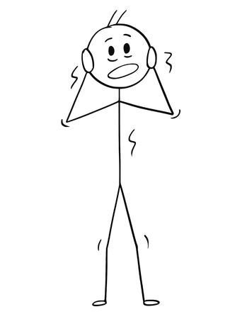 Cartoon stok figuur tekening conceptuele afbeelding van doodsbang of bange man of zakenman schudden in stress.