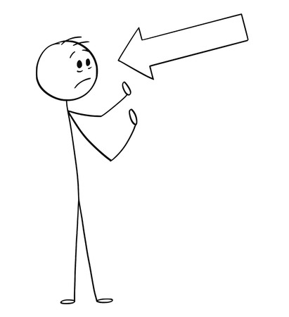 Cartoon stick figure drawing conceptual illustration of arrow pointing at head of man, marking some problem or blaming him. Vecteurs