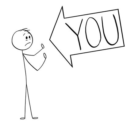 Cartoon stick figure dessin illustration conceptuelle d'une grosse flèche disant que vous pointez vers l'homme, marquant un problème ou le blâmant. Votre texte peut être ajouté.