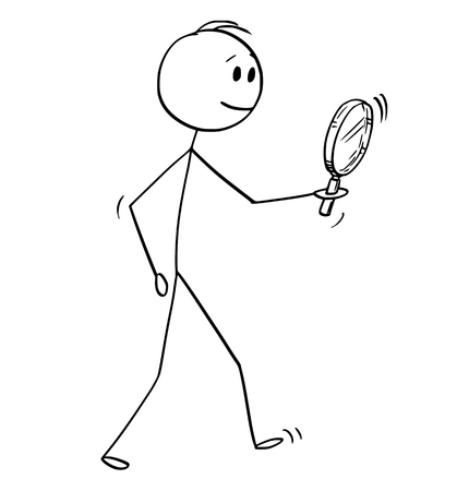 Cartoon stick figure drawing conceptual illustration of man searching with magnifying glass or magnifier.