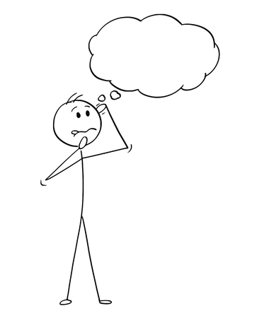 Cartoon stick figure drawing conceptual illustration of man or businessman thinking hard with empty speech bubble for text.