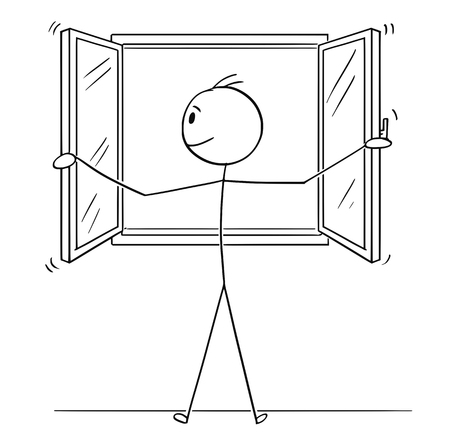 Cartoon stick figure drawing conceptual illustration of man opening window. Иллюстрация