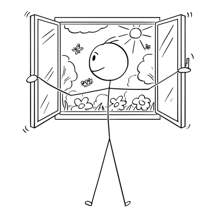 Cartoon stick figure drawing conceptual illustration of man opening window to beautiful garden or nature.