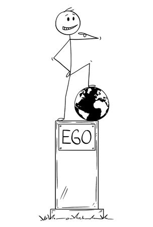 Cartoon stick figure drawing conceptual illustration of statue of egoist selfish man on pedestal with text ego standing on conquered world globe and pointing at yourself.