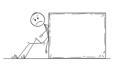 Cartoon stick figure dessin illustration conceptuelle d'un homme ou d'un homme d'affaires poussant une pierre ou un rocher lourd. Vecteurs