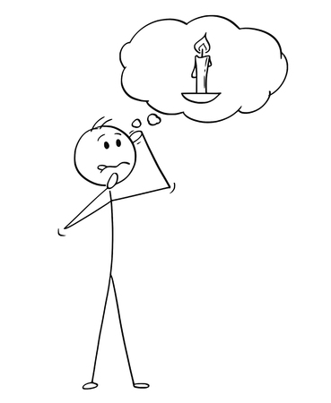 Cartoon stick figure drawing conceptual illustration of man or businessman thinking hard with burning candle image in speech bubble as dull mind metaphor. Ilustrace