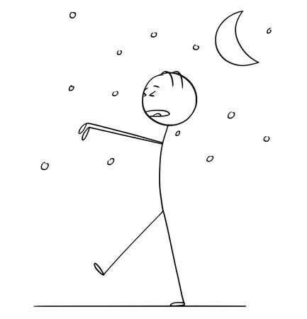 Cartoon stick figure drawing conceptual illustration of somnambulant sleepwalking man walking in night during sleeping.