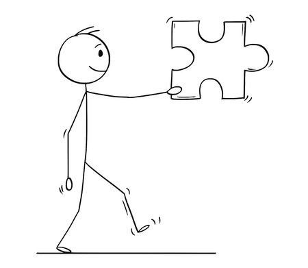 Cartoon stick figure drawing conceptual illustration of man or businessman carrying big jigsaw puzzle piece. Business concept of solution.