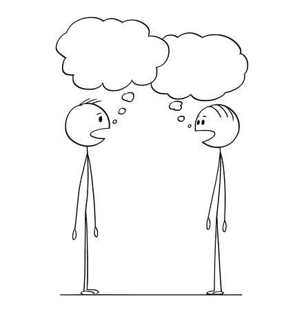 Cartoon stick figure drawing conceptual illustration of two men in conversation with empty speech or text bubbles.