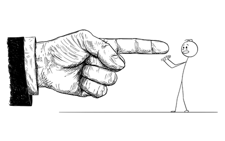 Cartoon stick figure drawing conceptual illustration of frustrated man defending yourself or resisting while big hand in suit is pointing at him and giving him order or blaming him. Concept of superiority and dominance.