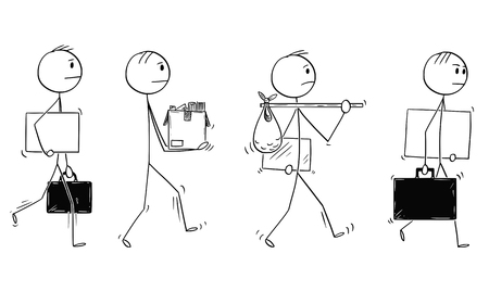 Cartoon stick figure drawing conceptual illustration of group of men or businessmen leaving or moving with office equipment in hands. Çizim