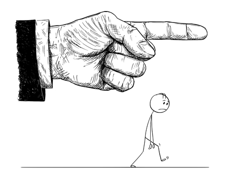 Cartoon stick figure drawing conceptual illustration of frustrated man walking while big hand in suit is pointing and giving him order to go or leave. Concept of superiority and dominance.
