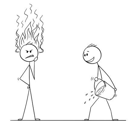 Cartoon stick figure drawing conceptual illustration of man or businessman thinking hard about problem with flames coming from head. Competitor with bucket of water is ready to cool him down and stop his innovation.