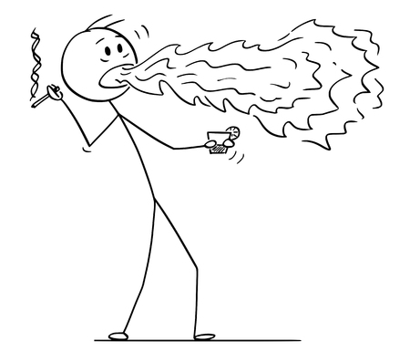 Cartoon stick figure drawing conceptual illustration of man holding drink and cigarette and with fire or flame coming from his mouth. Stock Illustratie