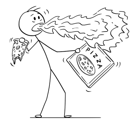 Cartoon stick figure drawing conceptual illustration of man with fire or flame coming from his mouth when eating hot pepper pizza.