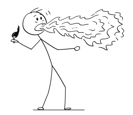 Cartoon stick figure drawing conceptual illustration of man with fire or flame coming from his mouth when eating hot chili pepper.
