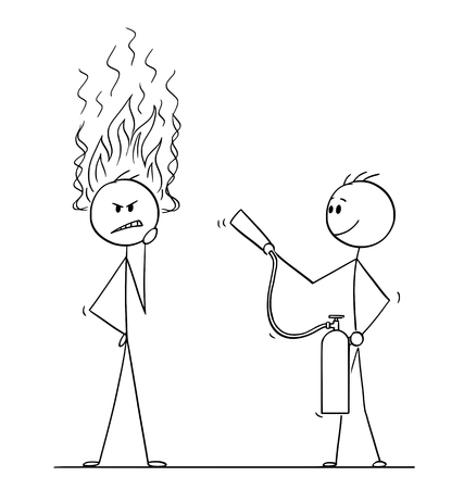 Cartoon stick figure drawing conceptual illustration of man or businessman thinking hard about problem with flames coming from head. Another man with fire extinguisher is ready to stop his thinking. Illustration