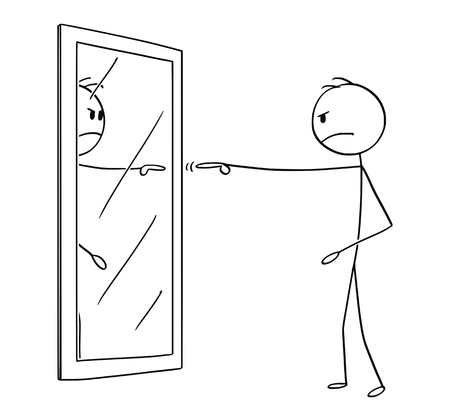 Cartoon stick figure drawing conceptual illustration of angry man pointing and blaming yourself or his reflection in mirror.