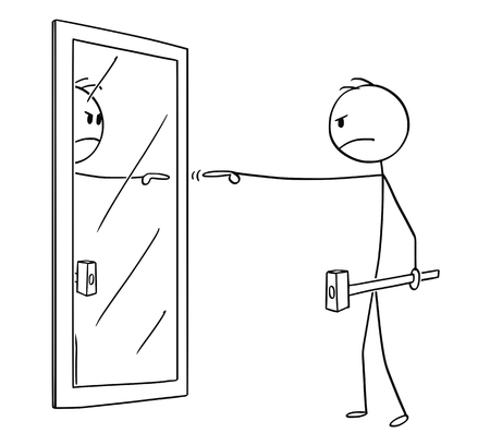Cartoon stick figure drawing conceptual illustration of angry man with hammer pointing and blaming yourself or his reflection in mirror.
