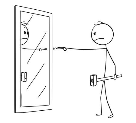 Cartoon-Strichmännchen zeichnen konzeptionelle Illustration eines wütenden Mannes mit Hammer, der sich selbst oder sein Spiegelbild im Spiegel beschuldigt.