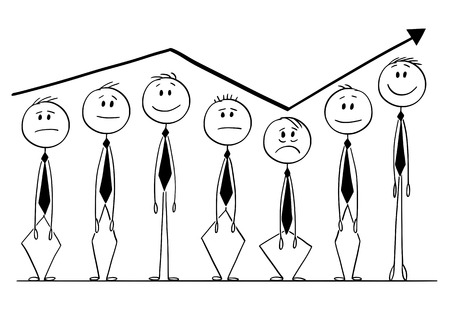 Cartoon stick figure drawing conceptual illustration of group of businessmen rising up and down following arrow of financial graph or chart. Business concept of market investment sentiment. Stock Illustratie
