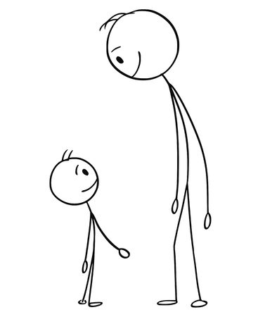 Cartoon stick figure drawing conceptual illustration of smiling and happy man or father and small boy or son watching each other.