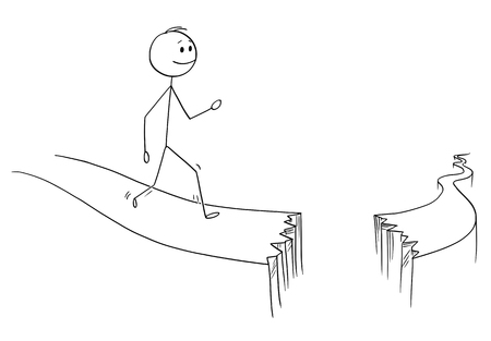Cartoon stick figure drawing conceptual illustration of man or businessman walking on path broken by abyss. Business concept of obstacles and risk on the way. Stock Illustratie