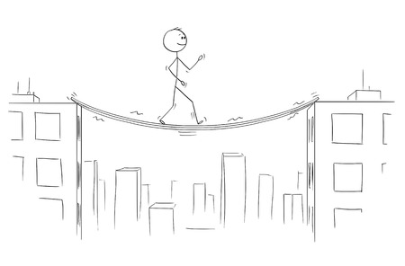 Cartoon stick figure drawing conceptual illustration of man or businessman walking between high buildings on unstable and shaky bridge.