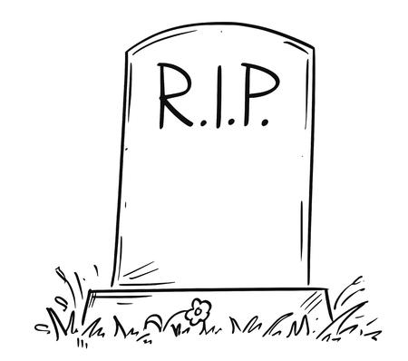 Cartoon conceptuele tekening of illustratie van grafsteen met RIP of RIP of rust in vrede tekst.