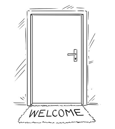 Cartoon conceptuele tekening of illustratie van gesloten deur met welkomsttekst op mat of deurmat.