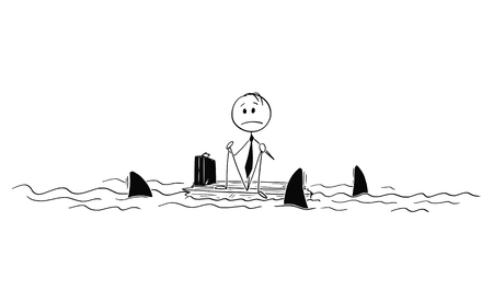 Cartoon stick figure drawing conceptual illustration of lonely businessman or castaway sitting lost and alone in the middle of ocean on piece of wood surrounded by sharks.