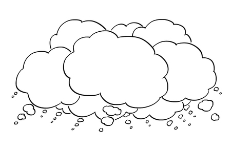Cartoon conceptual drawing or illustration of group of empty text or speech balloons or bubbles. Business concept of brainstorming or idea.