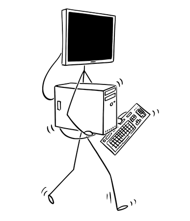 Cartoon stick figure drawing conceptual illustration of desktop computer walking with parts in hands and display as head of character.