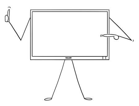Cartoon stick figure drawing conceptual illustration of computer or TV or television monitor character pointing at empty screen and showing thumb up. There is space for your text.