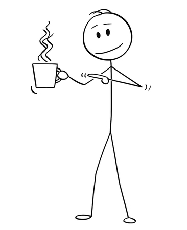Cartoon stick figure drawing conceptual illustration of man holding cup of hot beverage, coffee or tea and pointing at it. Stock Illustratie