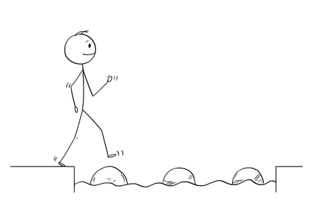 Cartoon stick figure drawing conceptual illustration of man or businessman stepping on big stones to get over water obstacle on his way to success.Business concept.