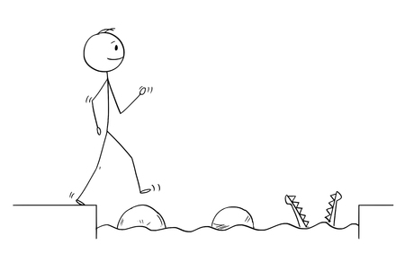 Cartoon stick figure drawing conceptual illustration of man or businessman stepping on big stones to get over water obstacle on his way to success ignoring danger.Business concept. Illustration