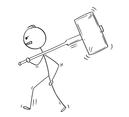 Cartoon stick figure drawing conceptual illustration of angry man or businessman walking with big hammer on his shoulder.