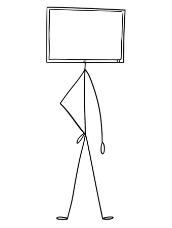 Cartoon stick figure drawing conceptual illustration of character with computer or TV or television monitor as head. There is empty space for your text. Stock Illustratie