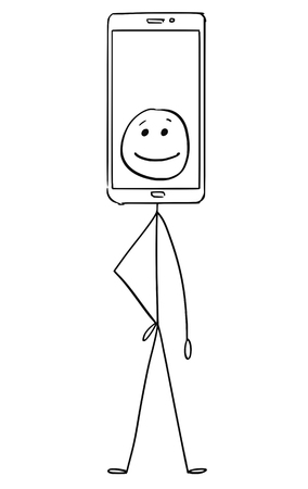 Cartoon stick figure drawing conceptual illustration of character with mobile phone display showing emoticon image as head. Stock Illustratie