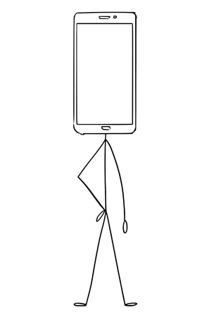Cartoon stick figure drawing conceptual illustration of character with mobile phone display as head. There is empty space for your text.