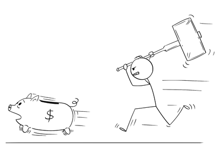Cartoon stick figure drawing conceptual illustration of angry man or businessman chasing running piggy bank pig with big hammer.