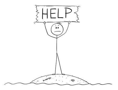 Cartoon stick figure drawing conceptual illustration of castaway man surviving alone on small island and holding help sign. Ilustrace