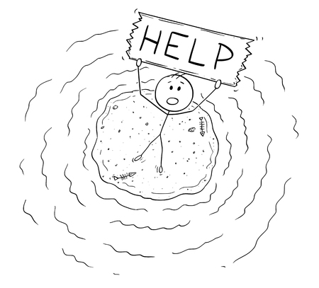 Cartoon stick figure drawing conceptual illustration of aerial view of castaway man surviving alone on small island and holding help sign.