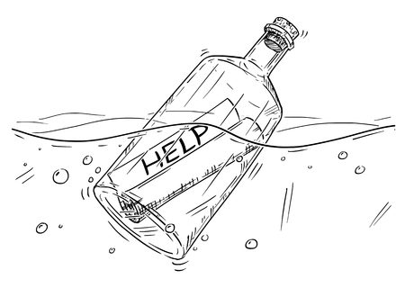 Cartoon drawing illustration of paper help message in old glass bottle floating in ocean.