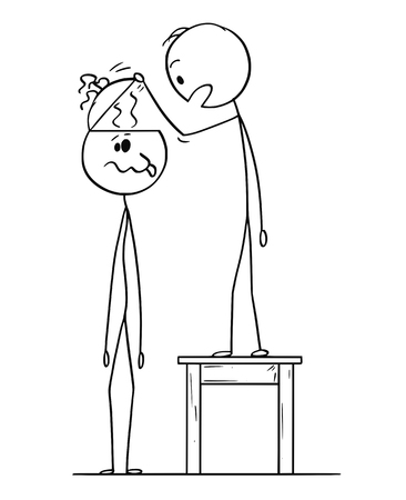 Cartoon stick figure drawing conceptual illustration of man looking in to empty head of crazy or dull man finding no brain inside or brainless.