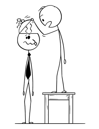 Cartoon stick figure drawing conceptual illustration of man looking in to empty head of crazy or dull businessman or politician finding no brain inside or brainless.